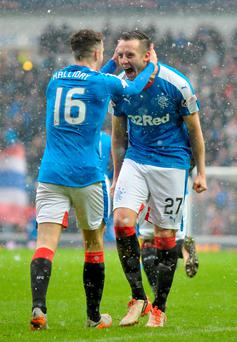 All smiles: Danny Wilson is hailed by Andy Halliday