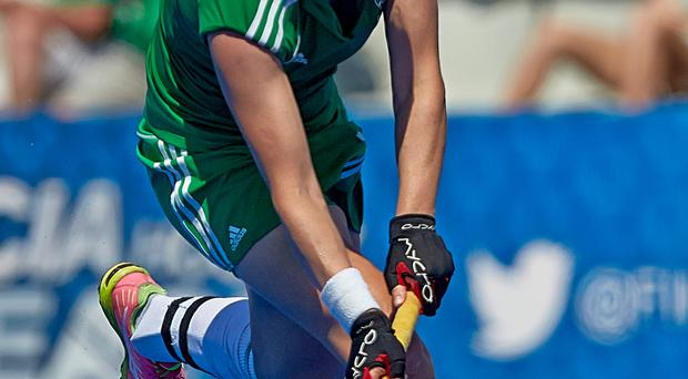 Bad blow: Ireland's Megan Frazer sustained an injury