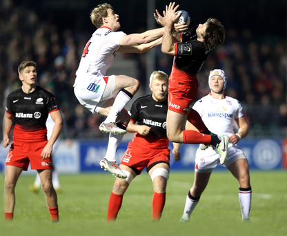On the rise: Ulster's Andrew Trimble beats Saracens star Marcelo Bosch to the ball on Saturday