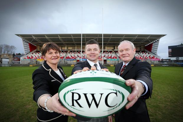 Pictured left to right: First Minister Arlene Foster, Brian ODriscoll RWC 2023 Bid Ambassador and Deputy First Minister Martin McGuinness. Picture by Kelvin Boyes / Press Eye.
