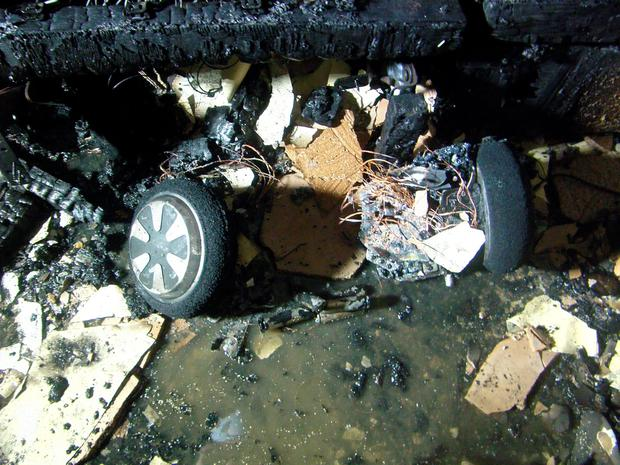 Photo issued by West Yorkshire Fire and Rescue Service of the damage caused at a house in Wyke, Bradford, when a charging hoverboard burst into flames. [File photo]
