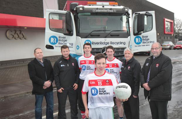 Oak Leaf delight: pictured at the launch of Derry's new partnership with RiverRidge Recycling are (l-r) Eamon Doherty, Financial Director RiverRidge, Chris Collins, Derry Games Development Manager, Derry Director of Football, Brian McIver, Derry GAA chairperson, Brian Smith and development squad players Conal Logan (13), Jason McVey (15) and Peter Tohill (14)