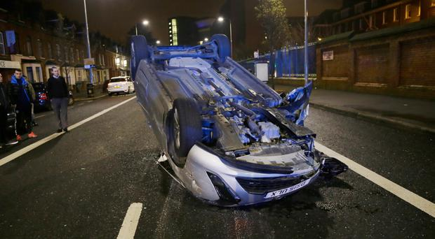 Scene of a four-vehicle collision on the Falls Road in Belfast on January 18, 2016 ( Photo by Kevin Scott / Presseye )