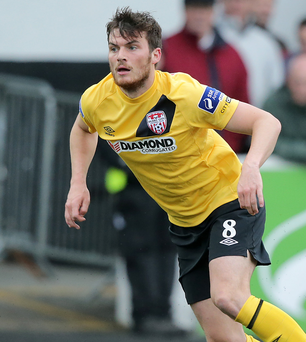 New port of call: Philip Lowry, pictured during his spell at Derry City, has joined Portadown