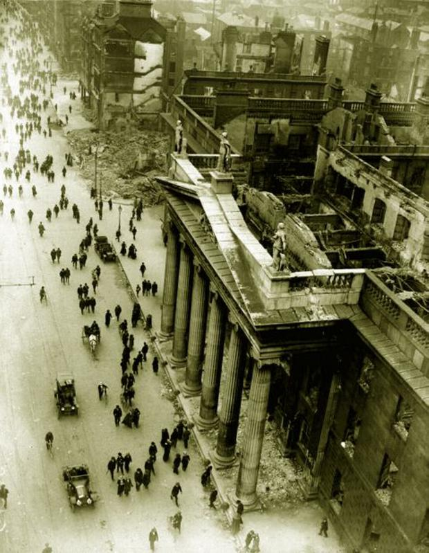 Damage to Dublin's GPO during the Easter Rising