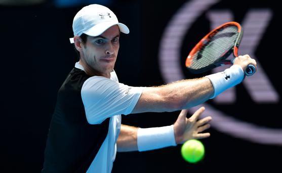 No bother: Andy Murray gears up for a backhand during his 6-1 6-2 6-3 Australian Open first-round win over Alexander Zverev
