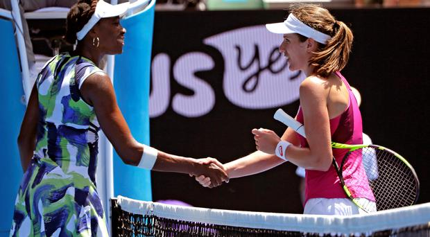 Brit of alright: British No.1 Johanna Konta shakes hands with Venus Williams after putting the American out of the Australian Open