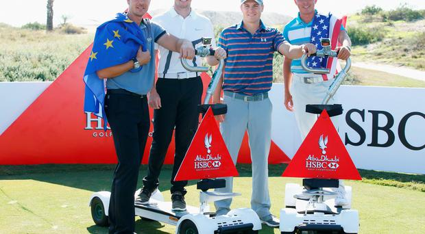 Quality: Rory McIlroy (second left), Jordan Spieth (second right), Henrik Stenson (left) and Rickie Fowler in Abu Dhabi yesterday