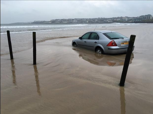 Car left on Portstewart Strand gets 'swallowed' by the sea