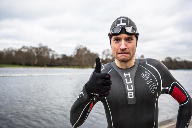 BBC Radio 1s Greg James, is facing his toughest challenge yet with the Radio 1 Gregathlon for Sport Relief a gruelling target of completing over 50 miles a day running, swimming and cycling in five different cities over five days. Greg pictured during a training session at The Serpentine, London.