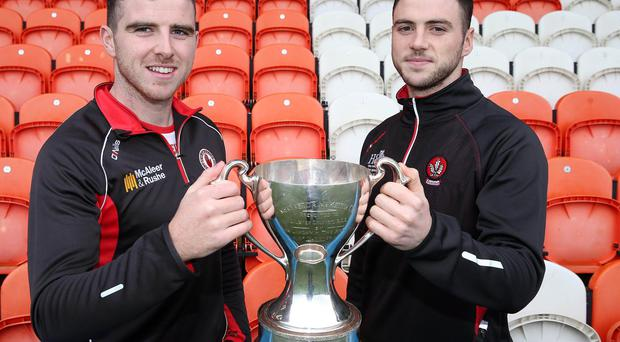 Final call: Connor McAliskey (Tyrone) and Daniel McKinless (Derry) at a press conference ahead of tomorrow night's Dr McKenna Cup final