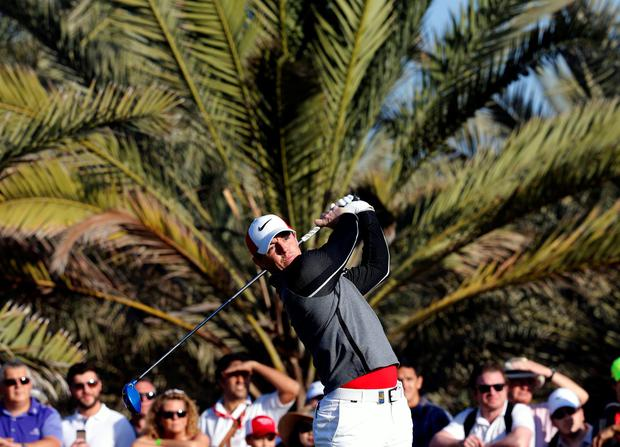 On target: Rory McIlroy on his way to a superb 66 in Abu Dhabi
