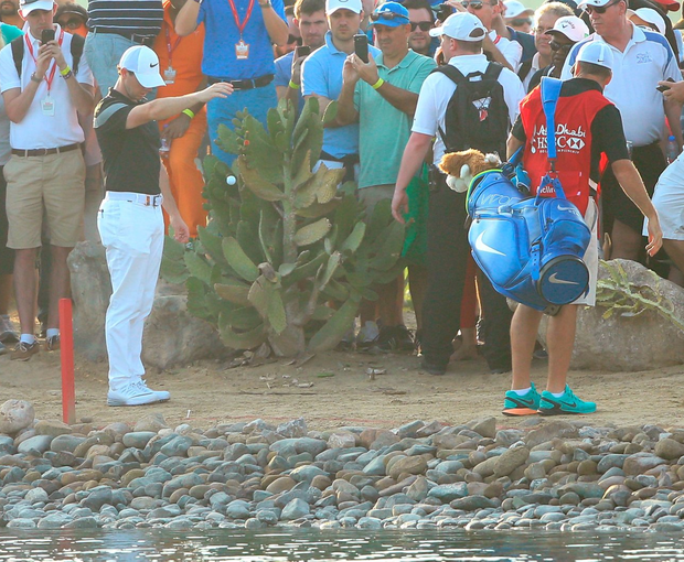 Trouble: Rory McIlroy takes a drop on the 9th hole during the second round of the Abu Dhabi HSBC Golf Championship