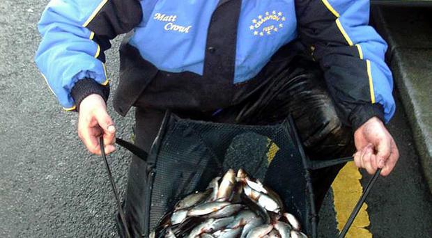 What a catch: Matt Crowl netted a superb winning haul of 46lb 15ozs from Newry Canal