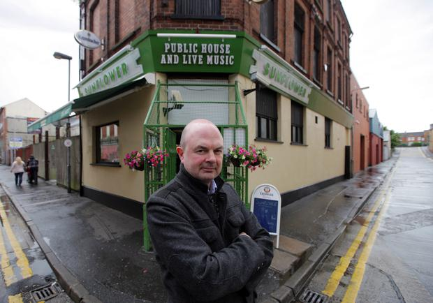 The current landlord of the Sunflower, Pedro Donald, outside the popular Belfast bar