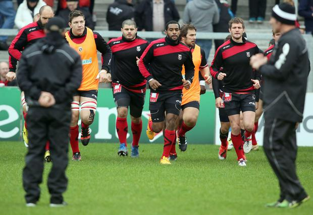 Oyonnax players warm up during the European Rugby Champions Cup pool 1 rugby union match between Ulster Rugby and Oyonnax Rugby at the Kingspan Stadium in Belfast, Northern Ireland, on January 23, 2016. AFP/Getty Images