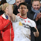 Red alert: Mattie Donnelly lifts the Dr McKenna Cup
