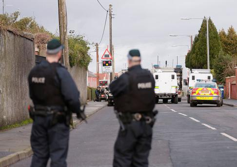 Police and ATO at the scene of an alert in the Lake St Area of Lurgan on January 25 2016 (Photo by Kevin Scott / Belfast Telegraph)