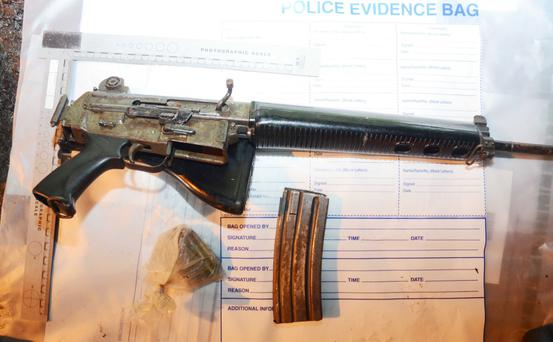 PACEMAKER BELFAST This is the Armalite-type assault rifle found by police in an industrial estate in Strabane, Co Tyrone, on Friday night