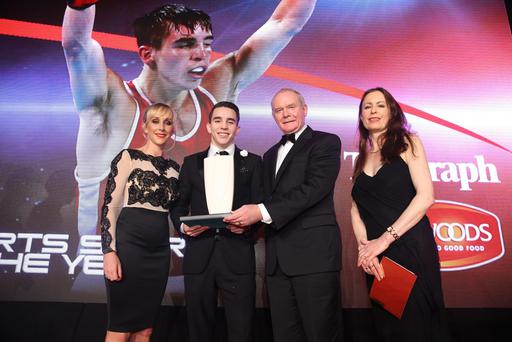 Sports Star of the Year: Michael Conlan . Trophy presented by Deputy First Minister Martin McGuinness, Belfast Telegraph's editor Gail Walker, and Linwoods head of marketing Sarah Shimmons. Photo by Kelvin Boyes/ Press Eye