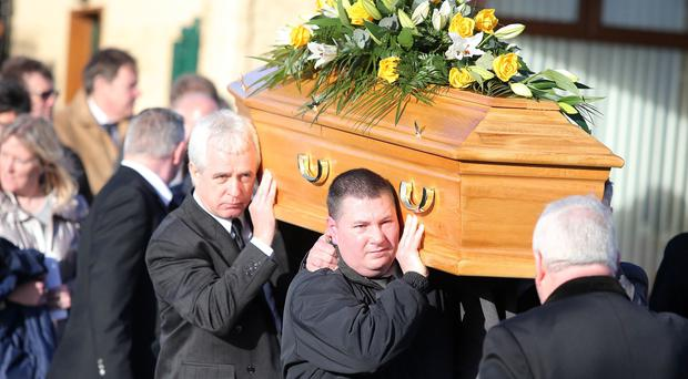 Funeral of Eddie Girvan at Mulholland's funeral home in Carrickfergus. The 67-year-old father of two was stabbed to death at his home Greenisland last week. Picture by Jonathan Porter/PressEye