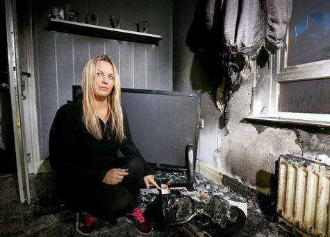 Sharon Massey pictured at home, on Ardgowan Street in east Belfast after a hoverboard she bought her daughter for Christmas apparently caught fire while charging. Picture credit © Matt Mackey - Presseye.com