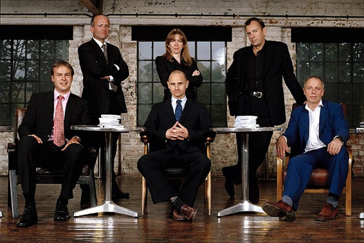 Doug Richard (back row, left) left the BBC show Dragons' Den in 2005 after failing to make any investments. Pic BBC