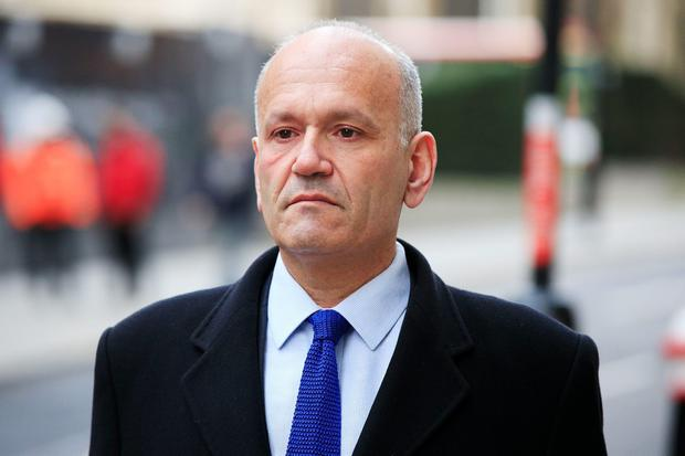 Former Dragons' Den star Doug Richard arrives at the Old Bailey in London. PA