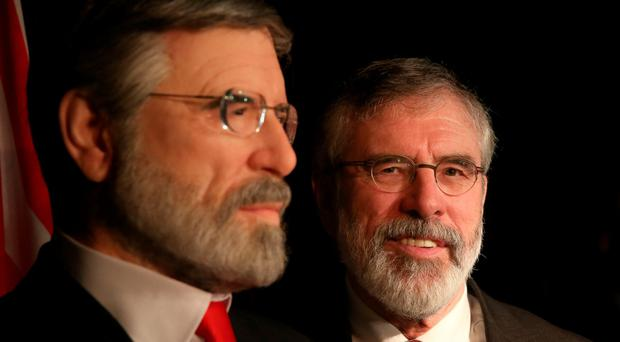 Sinn Fein leader Gerry Adams unveils a waxwork of himself at the Wax Museum Plus in Dublin. Brian Lawless/PA Wire