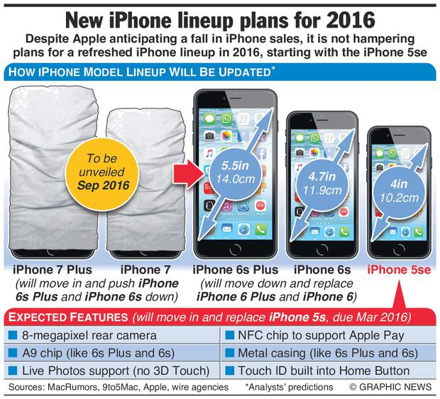 Graphic shows how the the rumoured new device will fit into the iPhone family, with technical specifications for the device.