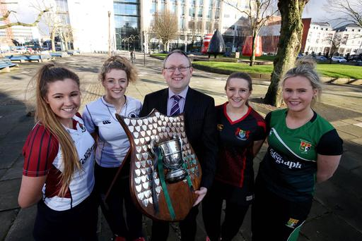 A class act: Belfast Telegraph sports editor Steven Beacom joins Royal School Armagh captain Clara Lennon, Methodist College Belfast captain Katie Larmour, Banbridge Academy captain Sarah Russell and Sullivan Upper captain Katharine Hill for the Belfast Telegraph Senior Schools Cup semi-final draw