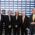Rory's big idea: Announcing Rory McIlroy's clubs initiative are (l-r) K Club Chief Executive Michael Davern, Rory Foundation Chief Executive Barry Funston, Antonia Beggs of European Tour, Dubai Duty Free President George Horan and Confederation of Golf in Ireland Chairman Redmond O'Donoghue