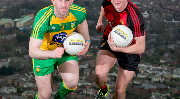 Up for it: Paddy McBrearty of Donegal and Caolon Mooney of Down will aim to scale the heights to NFL glory in Divisions Two and One respectively
