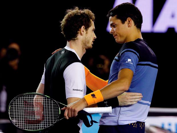 Long haul: Andy Murray (left) after beating Milos Raonic
