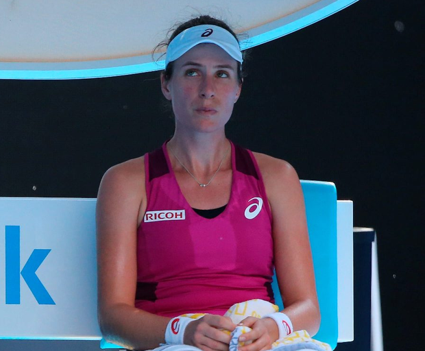 Tough at top: Johanna Konta during her Australian Open semi-final defeat against Angelique Kerber in Melbourne