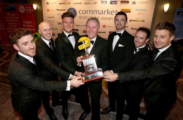 PACEMAKER, BELFAST, 29/1/2016:The nominees for the Irish Motorcyclist of the Year trophy Lee Johnston, Michael Laverty, Josh Elliott, Glenn Irwin, Alastair Seeley and winner Jonathan Rea are pictured at the Cornmarket Motorcycle Awards in Belfast on Friday night with Sam Geddis of Cornmarket. PICTURE BY STEPHEN DAVISON