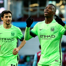 Manchester City's Kelechi Iheanacho celebrates scoring his side's second goal of the game from the penalty spot during their clash against Aston Villa. Pic Martin Rickett/PA Wire