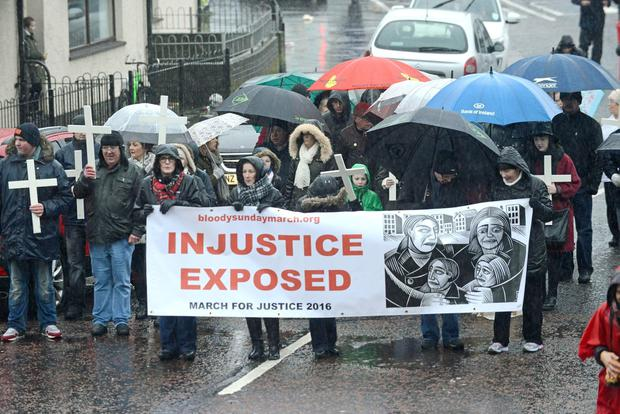 The annual Bloody Sunday Commemoration march which this year marks the 44th anniversary of the civil rights march during which 13 people died on the 30th of January 1972. A fourteenth person dies four months later. Picture Martin McKeown. Inpresspics.com.