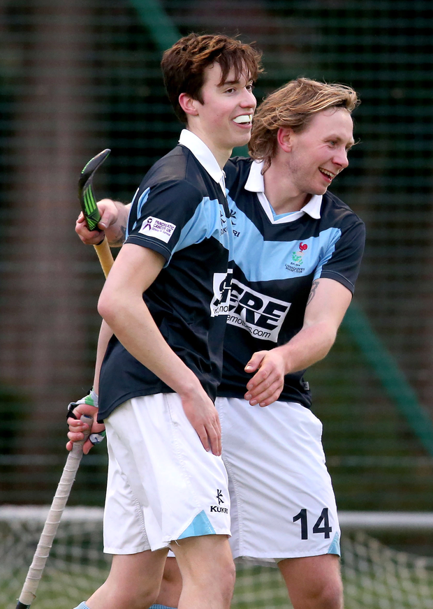 Cracking goal: Sean Murray celebrates with Daniel Buser after he scored the first of Lisnagarvey's six goals against Railway Union