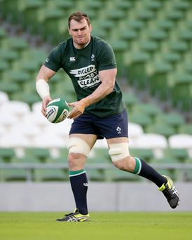 On the ball: Rhys Ruddock goes through the motions as Ireland gear up for their Six Nations opener against Wales