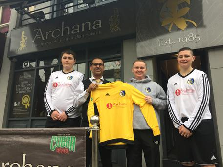 (From left to right) Lewis Dougan, Tony Toor (Archana), Mark Brown (Coach) and Cameron Vaughan all celebrate the official sponsorship announcement