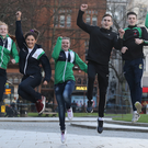 Jump to it: Danielle Hill, Rachel Bethel, Emma Reid, Aidan Walsh, James McGivern and Lydia Mills pictured at Belfast City Hall yesterday to hear the news of the Commonwealth Youth Games coming to Northern Ireland in 2021