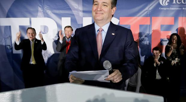 Republican presidential candidate, Sen. Ted Cruz, R-Texas, speaks during a caucus night rally, Monday, Feb. 1, 2016, in Des Moines, Iowa. (AP Photo/Charlie Neibergall)