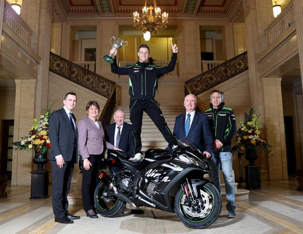 World Superbike champion Jonathan Rea is pictured with First Minister Arlene Foster, Gordon Dunne, MLA, Stephen Dunne, Mervyn Whyte and Kevin Havenhand in Parliament Buildings , Stormont where he was given a special reception to mark his championship success.