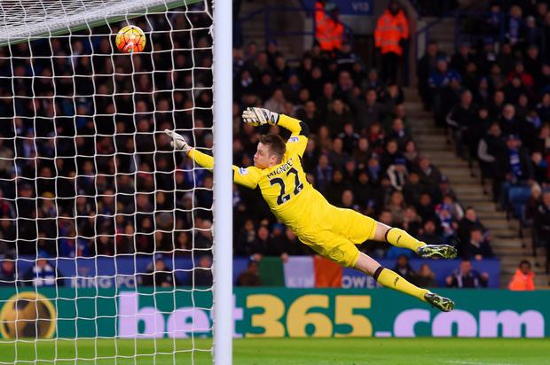 Simon Mignolet of Liverpool dives in vain as Jamie Vardy (not pictured) of Leicester City scores his team's first goal during the Barclays Premier League match between Leicester City and Liverpool at The King Power Stadium on February 2, 2016 in Leicester, England. (Photo by Michael Regan/Getty Images)