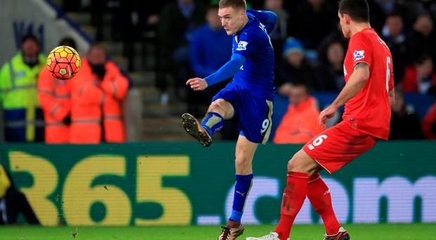 Wonder strike: Jamie Vardy lets fly to beat Simon Mignolet and score a goal of the month contender in the victory over Liverpool