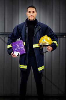 Firefighter Patrick McBride, 39, who has seen off more than 20,000 hopefuls to clinch the role of Cadbury's new modern Milk Tray Man by impressing judges with a line in thoughtful banter while performing a rescue lift.