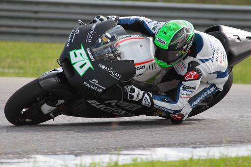 Before the off: Eugene Laverty on his new Ducati before Monday's testing accident at Sepang