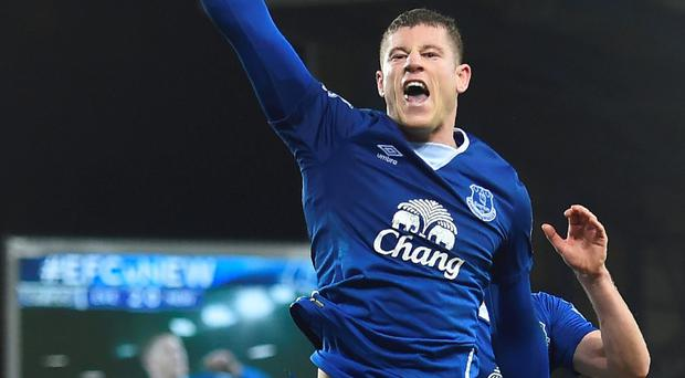 Jumping for joy: Ross Barkley celebrates his late double