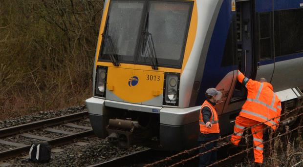 An obstruction on the railway line in Lisburn has disrupted train services on Thursday morning. Photo Colm Lenaghan/Pacemaker Press